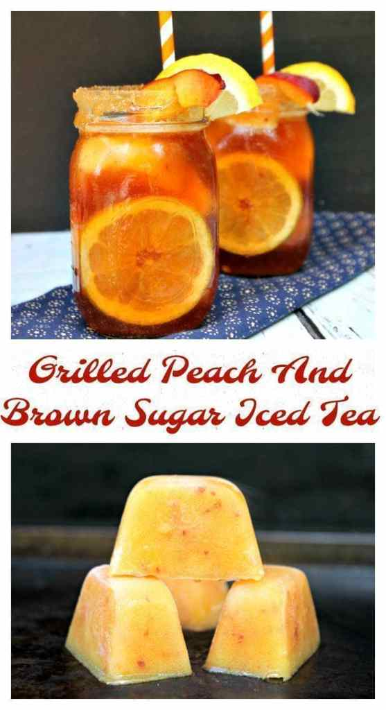 We live in the south, so we drink a lot of iced tea. A recipe handed down from my grandparents is one my husband I love, Their Grilled Peach And Brown Sugar Iced Tea