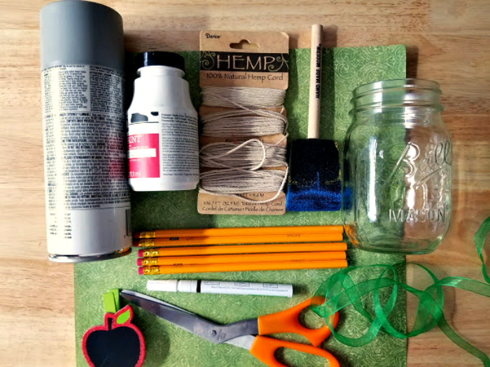 Apple Mason Jar Pencil Holder Teacher Gift Craft supplies