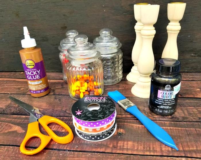 Easy DIY Halloween Candy Jar Craft supplies