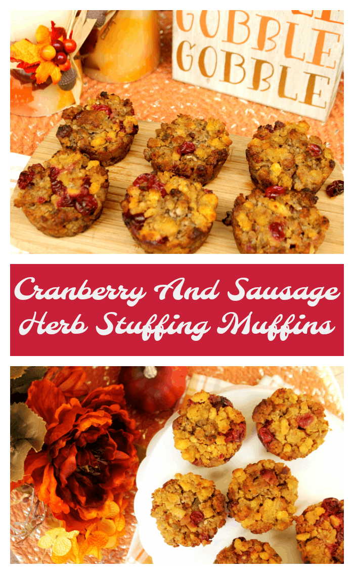 As a kid, mom served sausage and herb stuffing for the holidays. This year, I updated her recipe and I created these delicious Cranberry And Sausage Herb Stuffing Muffins.