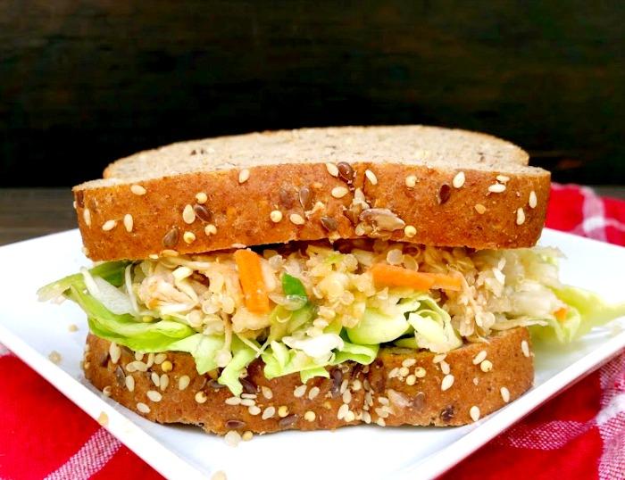 Healthy Asian Quinoa Chicken Salad Recipe sandwich