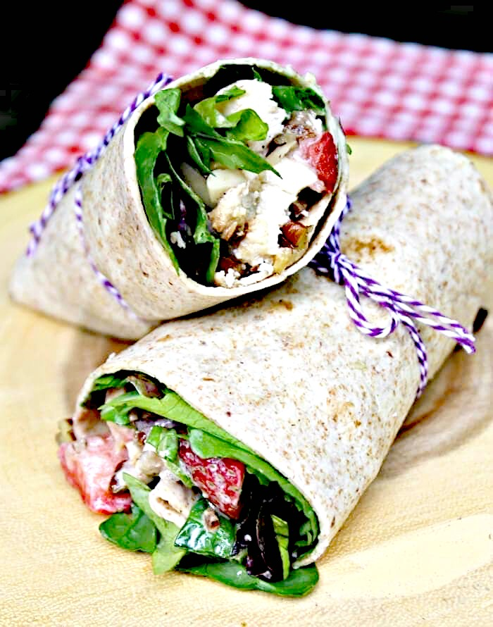 Healthy Strawberry Chicken Salad Sandwich Wraps Recipe