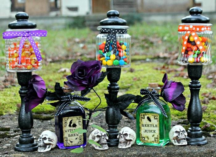 Easy Diy Halloween Candy Jar Craft Kicking It With Kelly