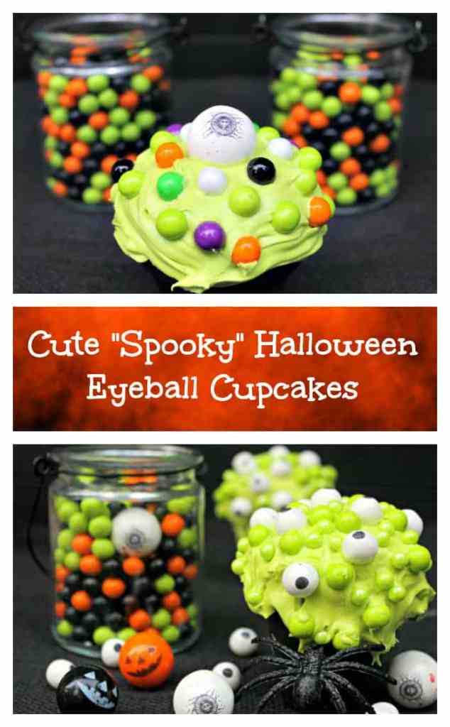 If you are looking for a fun and easy Halloween snack recipe, these Cute Spooky Halloween Eyeball Cupcakes are a great Halloween party food idea!