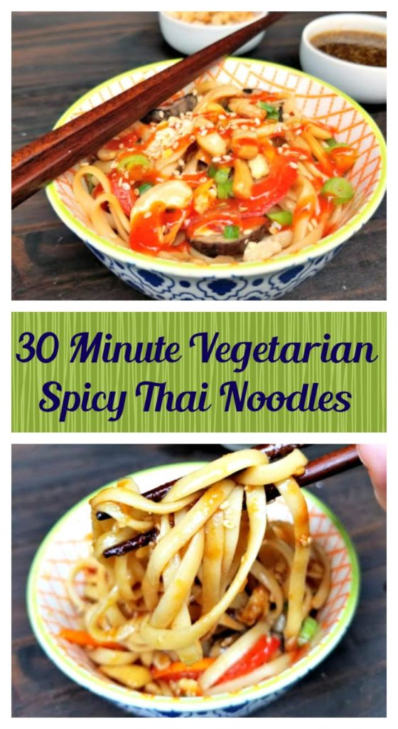 My 30 Minute #Vegetarian Spicy Thai Noodles made with Thrive #AlgaeOil is a great #heart healthy meal that the whole family can enjoy! #ad