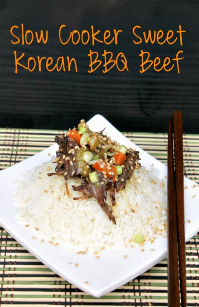 I love Asian take-out but hate the price. Make this Slow Cooker Sweet Korean BBQ Beef Recipe for a fraction of the cost. It will be your new favorite crock pot recipe!