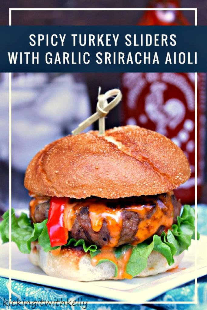 Looking to score big with a great game day food recipe? These Spicy Turkey Sliders With Garlic Sriracha Aioli are a huge crowd pleaser!