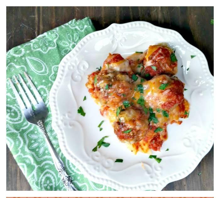 Three Cheese Turkey Meatball Manicotti Casserole