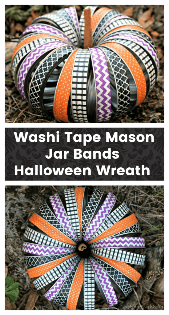 This Washi Tape Mason Jar Bands Halloween Wreath is a fun Halloween decor craft you can make with the kids in less than an hour and for less than $10!