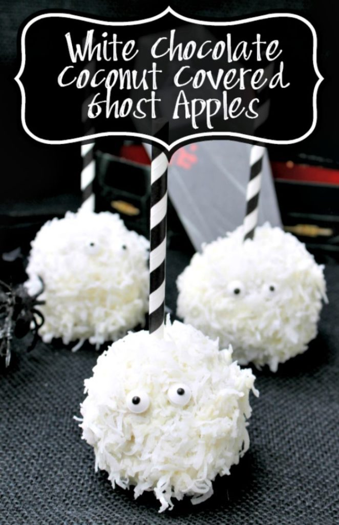 If you want a fun kid friendly Halloween snack for kids, these White Chocolate Coconut Ghost Apples will wow them!