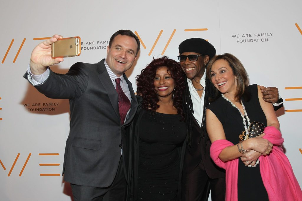 NEW YORK, NY - APRIL 23:  TV Personality Greg Kelly, Musical artist Chacka Khan, Nile Rodgers, and Rosanna Scotto attend the 2015 We Are Family Foundation Celebration Gala at Hammerstein Ballroom on April 23, 2015 in New York City.  (Photo by Shahar Azran/WireImage) *** Local Caption *** Greg Kelly; Chacka Khan; Nile Rodgers; Rosanna Scotto