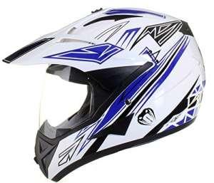 Qtech – Casque de moto/enduro/MX tout-terrain – idéal pour la route – Bleu – XL (61-62 cm)