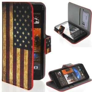 Semoss 1 X Rétro Union Jack USA Flag Drapeau Cuir Style Étui Coque Housse pour HTC One (M7)