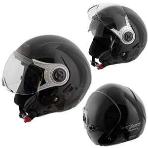 Demi Jet Casque Homologué Moto Scooter Visière Pare Soleil Noir XS