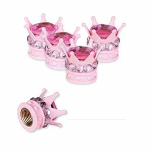 Mini-Factory Chrome Tire Valve Stem Caps Bling Diamond Crown Tire Wheel Stem Valve Caps for Car and Motorcycle (All Pink) by Mini-Factory