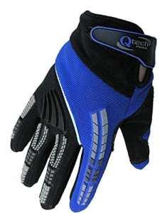 Qtech – Gants protecteurs pour MX/moto-cross/moto Trial – enfant – Bleu – XXS (env. 6-9 ans)