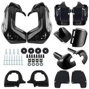 Ambience Noir / Balck peint plus faible décharge jambe carénages boîte à gants pour Harley Touring Road King FLHR FLHT Electra Glide (Black)
