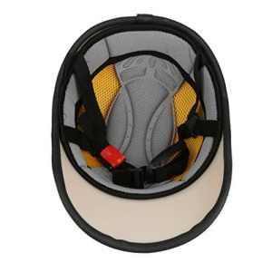 Casque Moto En Cuir PU Bols Chapeaux de Protection Motocycle à Moitié Ouverte De Visière – Orange # 1