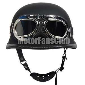 Moto vintage Open Face Demi casque avec lunettes de natation Harley Dot Noir mat