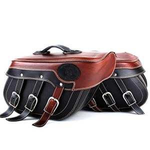 Poches Selle cuir Kit Noir Cuir avec Poches Marron foncé 2pièces de qualité supérieure fixe Maintien
