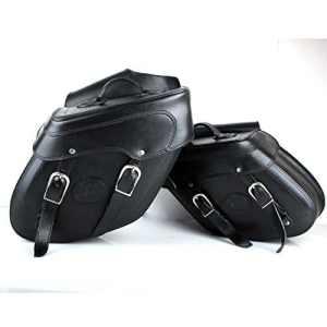 Sacoches en cuir noir largeur 50cm Set 2pièces avec courroie en cuir Poches Cuir pour moto Chopper Cruiser