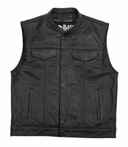 Black Brand Men's Leather Club Motorcycle Vest (Black, X-Large) by Black Brand