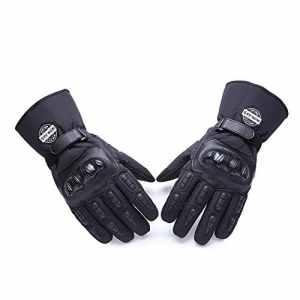 Moto Gants hiver chaud gants de protection 100% imperméable Imperméable Coupe-Vent GUANTES luvas noir Noir x-large