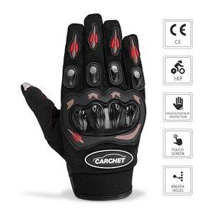 Gants Moto Ete Homologué CE 1KP CARCHET Femme Homme Plein-Doigt Ecran Tactile Respirable Anti-glissant Anti-usure Réglable Noir Taille L ( tour de paume ) 21cm-23cm