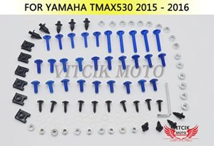 VITCIK Kits de boulons pour moto Yamaha TMAX530 2015 2016 TMAX 530 15 16 attaches aluminium CNC (Bleu & Argent)
