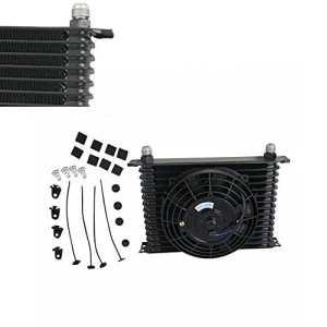 ALLOYWORKS 15Rangées 10AN Universal Refroidissement du moteur Transmission Refroidisseur d'huile &7″ Kit de ventilateur électrique