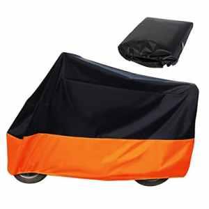 Audew Bache Moto Housse de Protection Exterieur Couverture Étanche et Anti-UV Pour Moto Scooter – Couleur Orange/Noir – Taille XXL