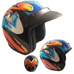 Casque Jet Enfant Junior Orange/Bleu/Noir Homologué moto scooter avec visière Calotte longue S 47/48 CM Arancione/nero/azzurro
