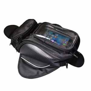 maelu Huile Moto Sac de réservoir magnétique moto Sac Noir Universelle étanche Oxford plastique GPS Téléphone (48* 20* 15cm)