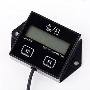 Qiilu LCD Tach / Hour Meter Gauge RPM Affichage d'heure pour 2/4 course Bougie d'allumage Moteur à essence Moto VTT