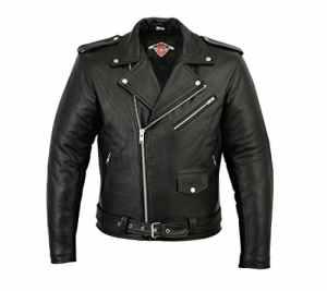 Veste pour homme – style Perfecto – cuir de vachette – noir – L – tour de poitrine 106,5cm