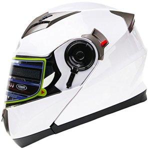 YEMA YM-925 Casque Modulable Moto Double Visière-Blanc-M
