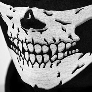 F-eshion Tête de mort tubulaire de protection de la poussière Masque Bandana Écharpe de polyester pour moto visage cou chaud pour snowboard Ski Moto Vélo