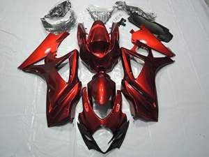 Alpha Rider Moto Rouge Carénage kit carrosserie avec housse de travail Solidification Painted pour Suzuki GSX-R 10002007–2008(25pièces)