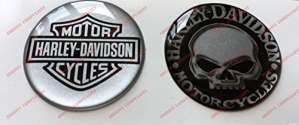 Emblème Logo Decal Harley Davidson, Skull & Classic Logo, couple Stickers, Résine Effet 3d. Pour réservoir ou casque