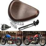 'triclicks Marron Moto assise selle plumes 3Solo Siège pour Harley Davidson Chopper Bobber Sportster Forty-Eight 48(XL 1200x) Honda Yamaha Custom
