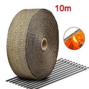 10M*50mm Bande Isolant Thermique Collecteur Echappement Haute Température + 10 Colliers pour Tuyeau Manifold 30CM 20CM