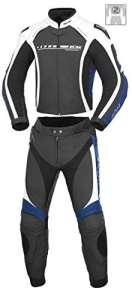 Büse Donington Combi 2pièces en cuir pour hommes en noir/blanc, Büse Leder, Schwarz/Blau