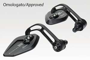 Yamaha–Kit miroirs 'Revenge' SS–Rétroviseurs en aluminium de facile Installation–Noir mat–Accessoires de Pretto moto (DPM)–100% fabriqué en Italie XSR 900 2015 noir opaque