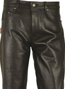 «Fuente» Pantalon en cuir homme-femme, Motard 5 poches jean en cuir Moto-biker-Saddle, Lederhose, Chasse-meilleure qualité Nappa-Noir (W38/L36 (95-97cm), Noir)