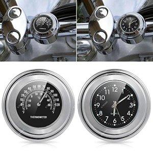 'ICT Ronix Universal motorraduhr Horloge montres Moto Guidon Thermomètre Temp 25/22M Noir Aluminium 7/8(22mm)