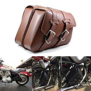 League & Co Sacoche de selle Sacoches de moto bagages sac à outils en cuir synthétique pour Harley Sportster xl883xl12001990Up, marron