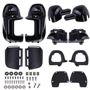 Ambience Noir / Balck peint plus faible décharge jambe carénages boîte à gants pour Harley Touring Road King FLHR FLHT Electra Glide (Black Painted)
