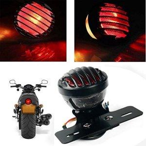 KaTur Feu arrière/de freinage noir et rond en métal pour Harley/Bobber/Chopper/Aprilia Mana, custom – 1pièce