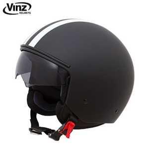 Vinz Casque de moto, Casque Scooter Casque jet Noir avec bandes blanches dans Taille XS – XL – Casque avec pare-soleil – ECE certifié (S)