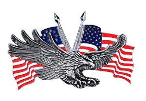 Emblème Adhésif Métal Eagle US en relief biker custom (Grand modèle)